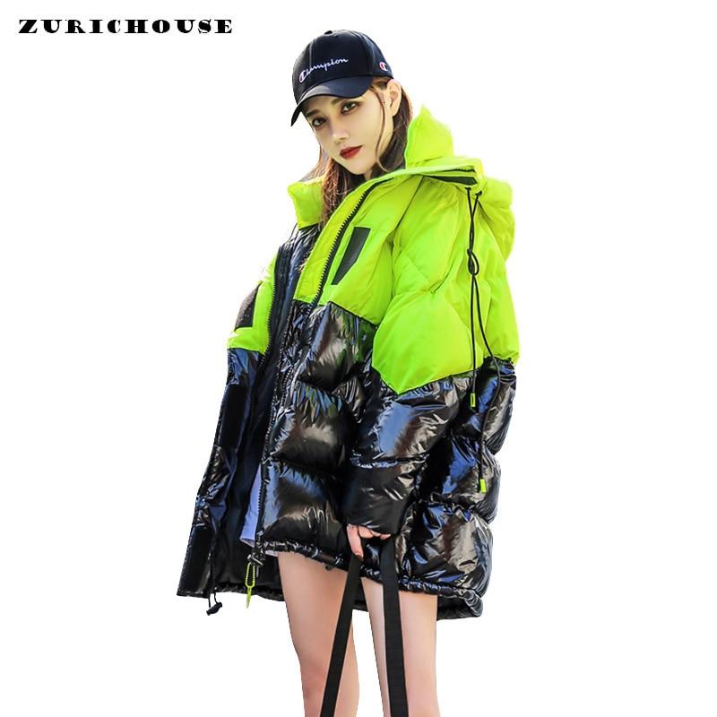 ZURICHOUSE 2020 Winter Jacket Women Fashion Contrast Color Plus Size Loose Hooded Down Padded Coat Warm Women's Parka