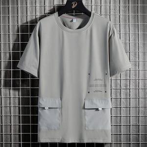 Summer Oversized Big Pockets T-shirts Men Streetwear Short Sleeve Cotton Tshirt Male Harajuku Tops Tees Plus Size 6XL 7XL 8XL