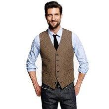 Männer Vintage Braun Tweed Weste Wolle England Stil männer Anzug Weste Business Anzug Weste