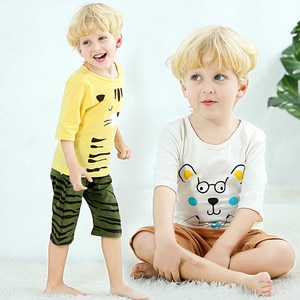 New Kids Boys Pajama Sets Cartoon Tiger Half sleeve Pyjamas Kids T-Shirt Tops+ Pants Toddler Baby Girls Summer Sleeping Clothes