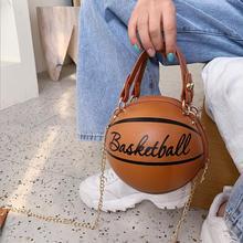 Mini sac à main bandoulière en forme de basket-ball pour femmes, nouveau Design, sac à main avec chaînes en lettre, bourse féminine