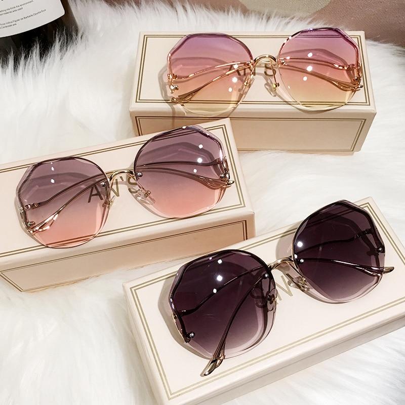 2021 Fashion Tea Gradient Sunglasses Women Ocean Water Cut Trimmed Lens Metal Curved Temples rimless