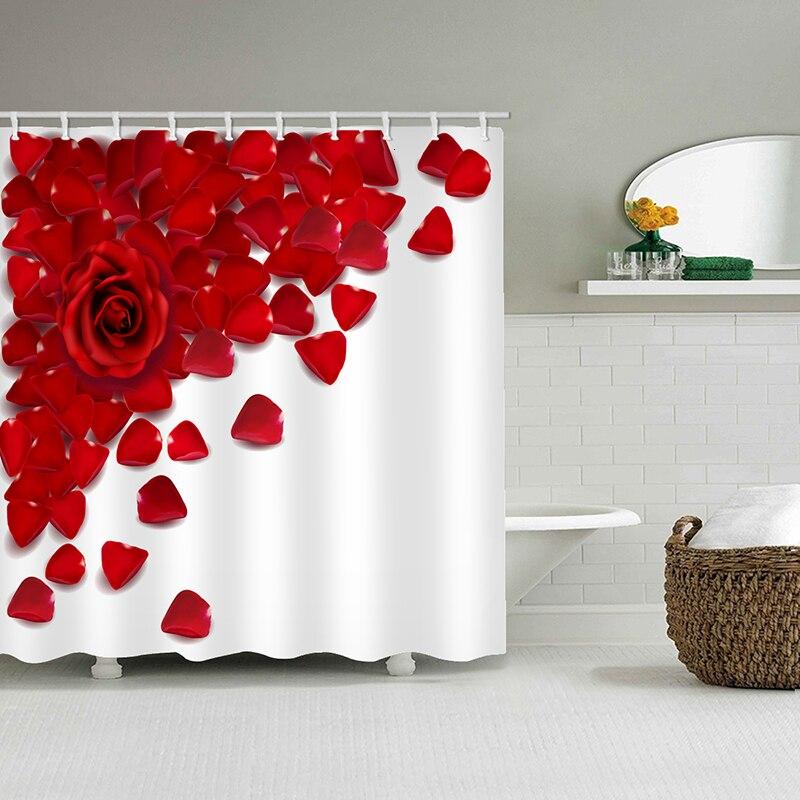 Romântico vermelho rosa pétalas cortina de chuveiro cortina de chuveiro à prova dwaterproof água decoração do banheiro à prova dwaterproof água floresta animais cervos cortina