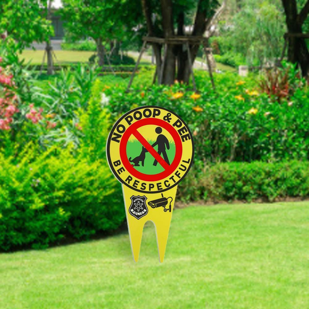 Garden Warning Sign Yellow Luminous Stoving Varnish Technique Double-sided Patterns Aluminum Be Respectful Garden Signpost