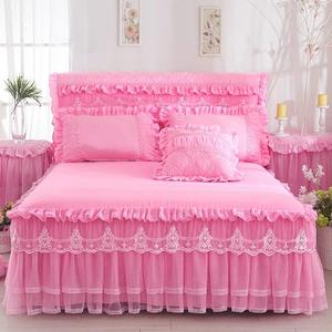 1 Piece Lace Bed Skirt +2pieces Pillowcases bedding set Princess Bedding Bedspreads sheet Bed For Girl bed Cover