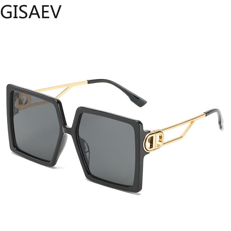 GISAEV Driving Glasses Women Oversized Square Frame Letter D Sunglasses Vintage D shape Oversized Frame Popular Fashion Glasses