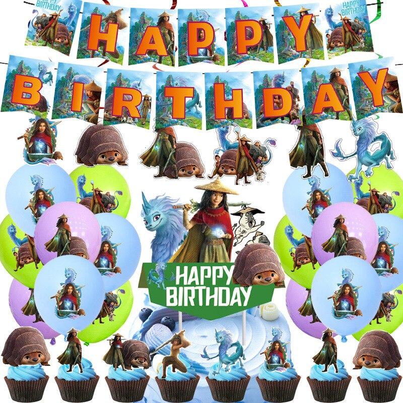 Одноразовая посуда Disney для вечеринки, декоративная чашка и тарелка на день рождения с изображением рейи и последнего дракона, товары для де...
