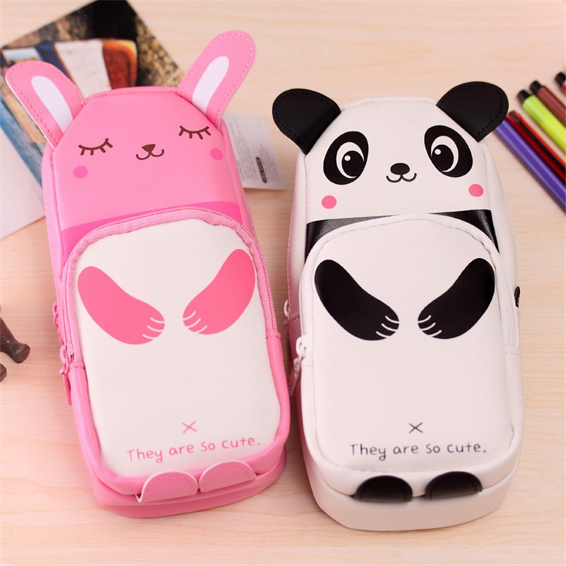 Útil bolsa de cosméticos Kawaii Panda conejo cremallera lápiz bolsa de cuero PU impermeable brochas de maquillaje bolsa niños bolsa de maquillaje portátil