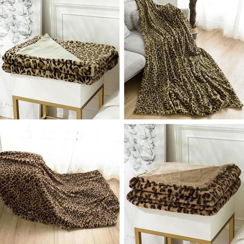 Cobertores de Viagem Cobertores para Cama Naturelife Macio Cobertor Quente Coral Manta Sofá Leopardo Impressão Velo Fofo Coberto