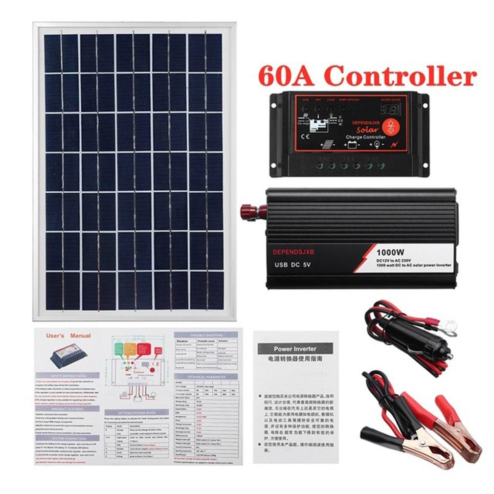 1000 واط نظام لوحات شمسية 18 فولت 20 واط الألواح الشمسية 60A جهاز التحكم في الشحن الشمسية العاكس عدة كاملة توليد الطاقة الشمسية لوحة