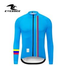 Primavera y otoño Colombia ciclismo jersey EYESSEE hombres fit ligero tela manga larga ciclismo Jersey MTB bicicleta ropa