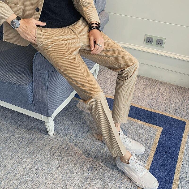 Мужские вельветовые брюки s, деловые облегающие брюки для отдыха, деловые брюки, брюки цвета хаки, черные, 2020