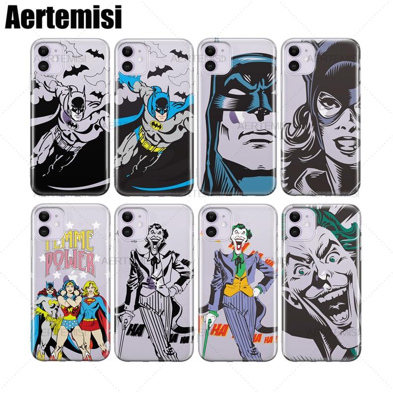 Aertemisi Batman Joker Catwoman Superman pregunto mujer claro funda de TPU para iPhone 6 6s 7 7 8 Plus X XS X XR 11 Pro Max