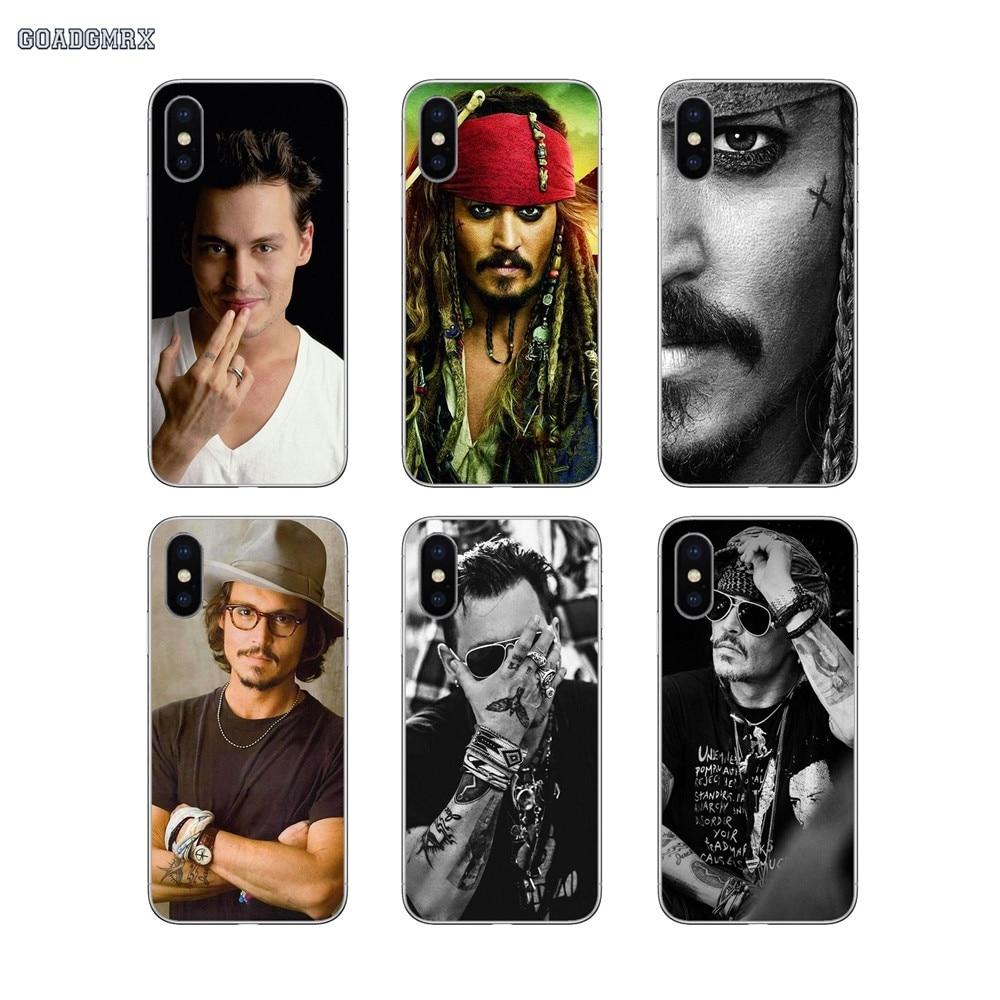 Estrella de cine Johnny Depp para iPhone 11 X XR XS Pro MAX 4 4S 5 5S SE 5C 6 6S 7 7 Plus transparente suave cubiertas de los casos