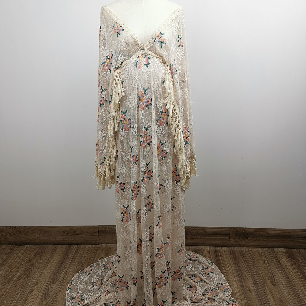 Don&Judy Boho Sexy V-Neck Embroidery Floral Dress for Photo Shoot Bohemia Party Prom Maxi Gown Maternity Dresses Photoshoot 2021 enlarge