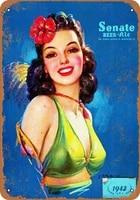 1942 senate beer rusty look metal tin sign wall decorating metal plate metal vintage poster