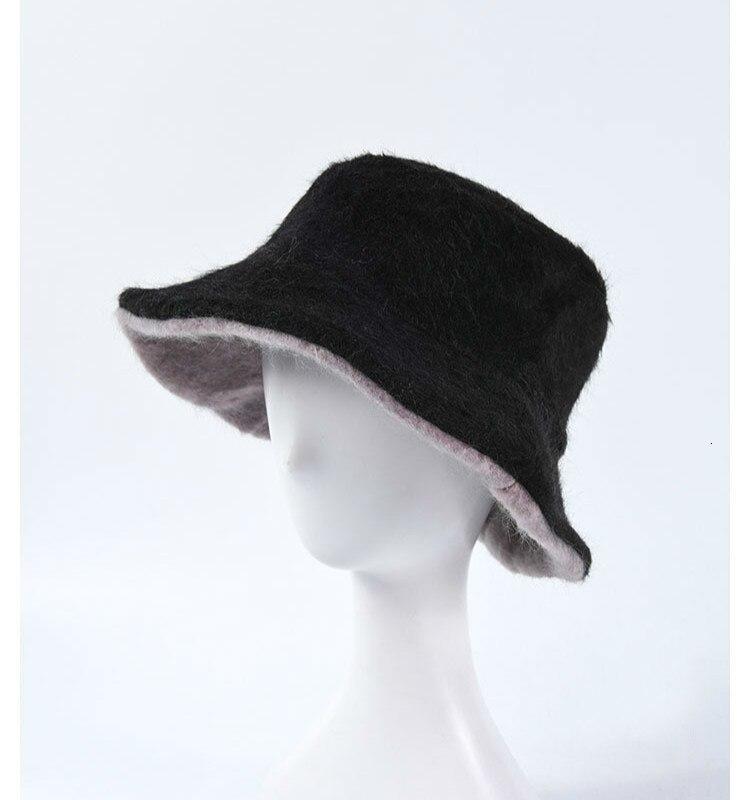 Gorro de pesca grueso suave y cálido para chica, gorro para exteriores, sombrero para mujer Panamá, sombrero de cubo de doble cara, sombrero de piel para Invierno para mujer