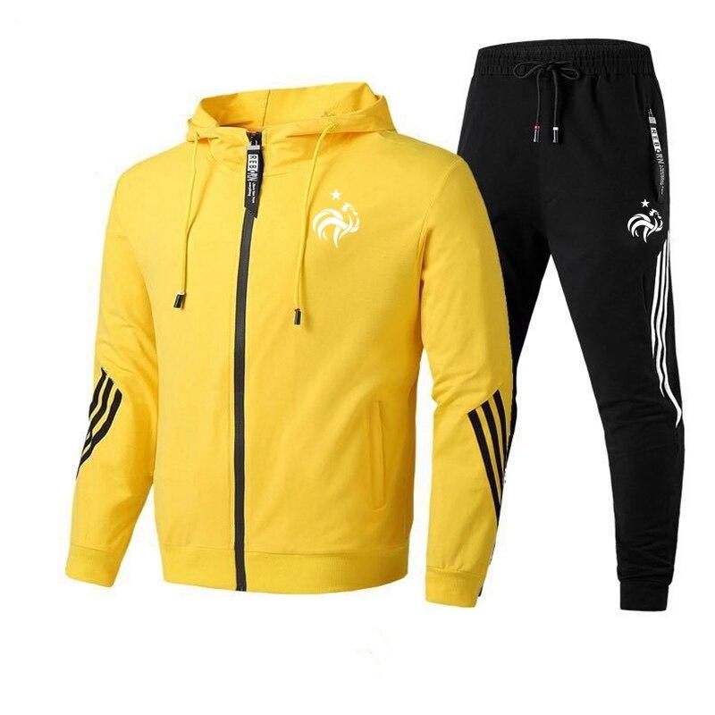 Новый бренд, Мужская толстовка на молнии с принтом петуха и штаны, повседневный комплект спортивной одежды для бега, тренировок, футбола
