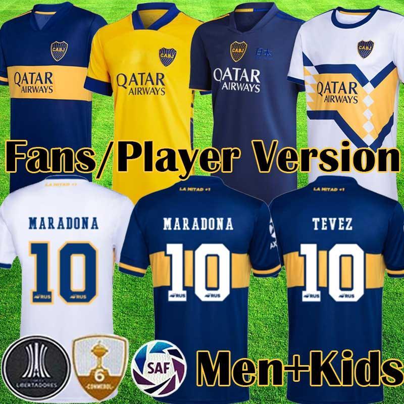 20 21 Camisetas de fútbol de Juniors # 10 Tevez # 16 de Rossi Fútbol Camisetas Hombres Hombres para hogar shirt