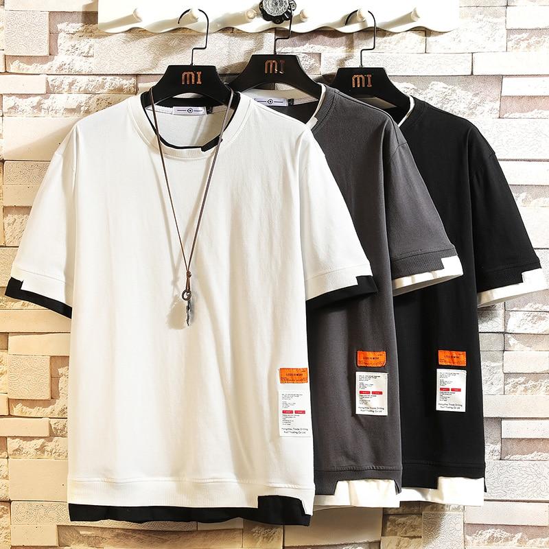 Summer Short Sleeves Harajuku Korea Fashion White T-shirt Streetwear One Piece Hip Hop Rock Punk Men