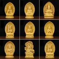 boxwood wood sculpture buddhism sambo buddha home decoration accessories office garden ornaments artwork buda statue bouddha