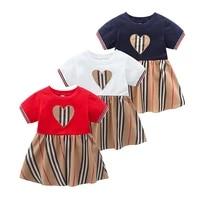 2020 summer kids clothes striped short sleeve cotton girl dress
