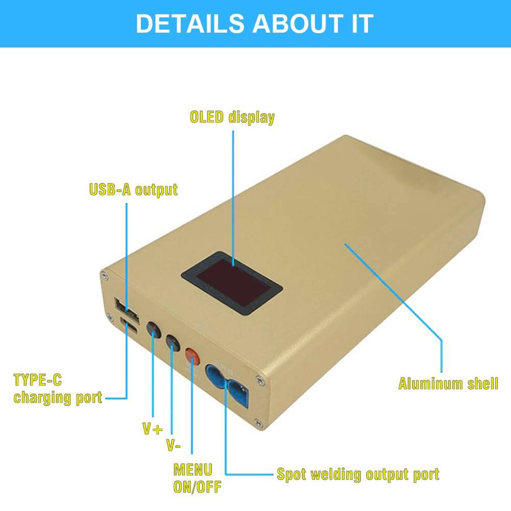 Portable Spot Welder OLED Adjustable 10600mAh Battery Spot Welding Tool 18650 DIY Spot Pen Built-In 6*300A High-Power MOS Tube enlarge