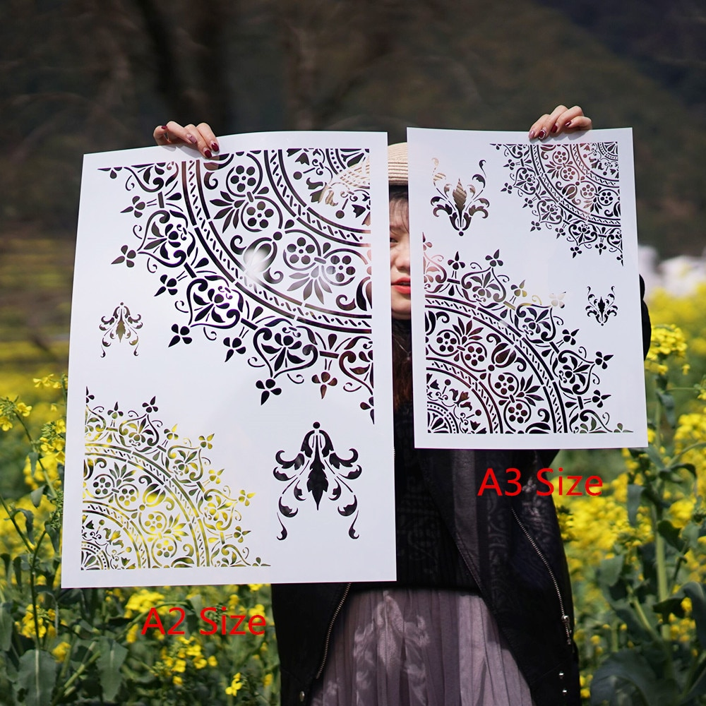 A3 A2 Size DIY Craft Mandala Stencils for Painting on Wood,Fabric,Walls Art Scrapbooking Stamping Album Embossing Paper Cards