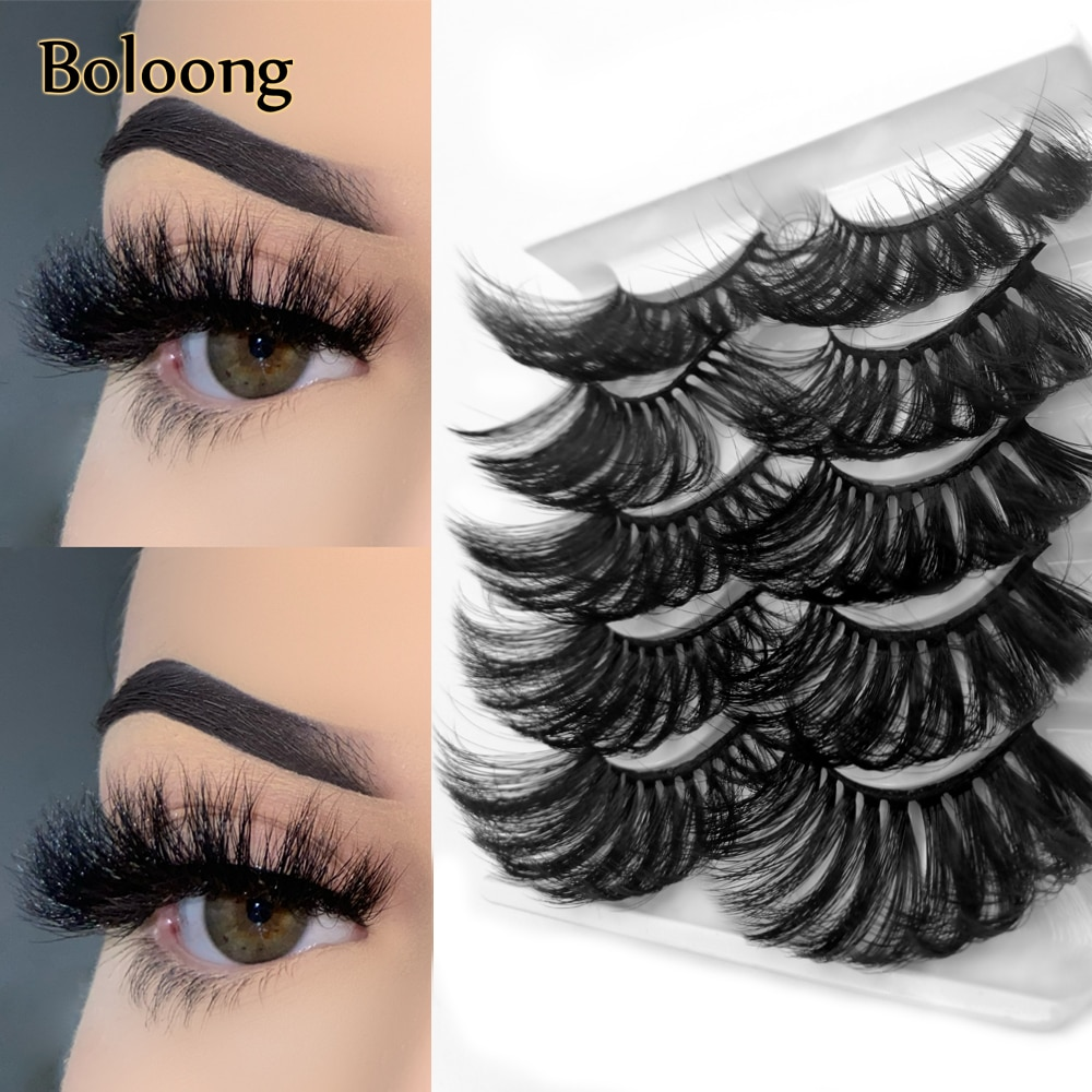 AliExpress - Long Fluffy 5 Pairs Thick Messy False Mink Hair Lashes 6D Dramatic Wispy Criss Cross Lightweight Soft Doll Eyes Glam Eyelashes