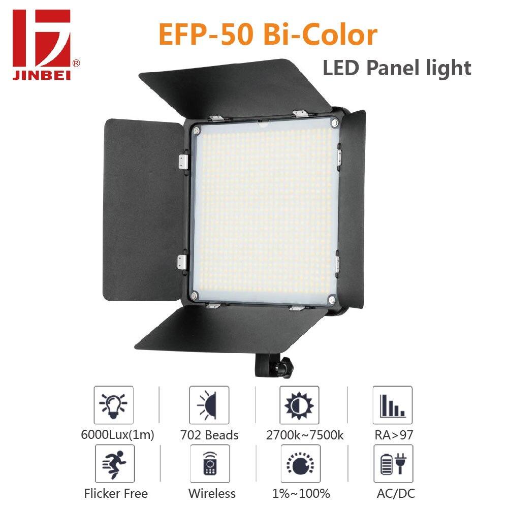 Jinbei EFP-50 50 w ac dc led luz de vídeo bi-cor ampla temperatura de cor 2700k-7500k cri 97 + iluminação de fotografia regulável
