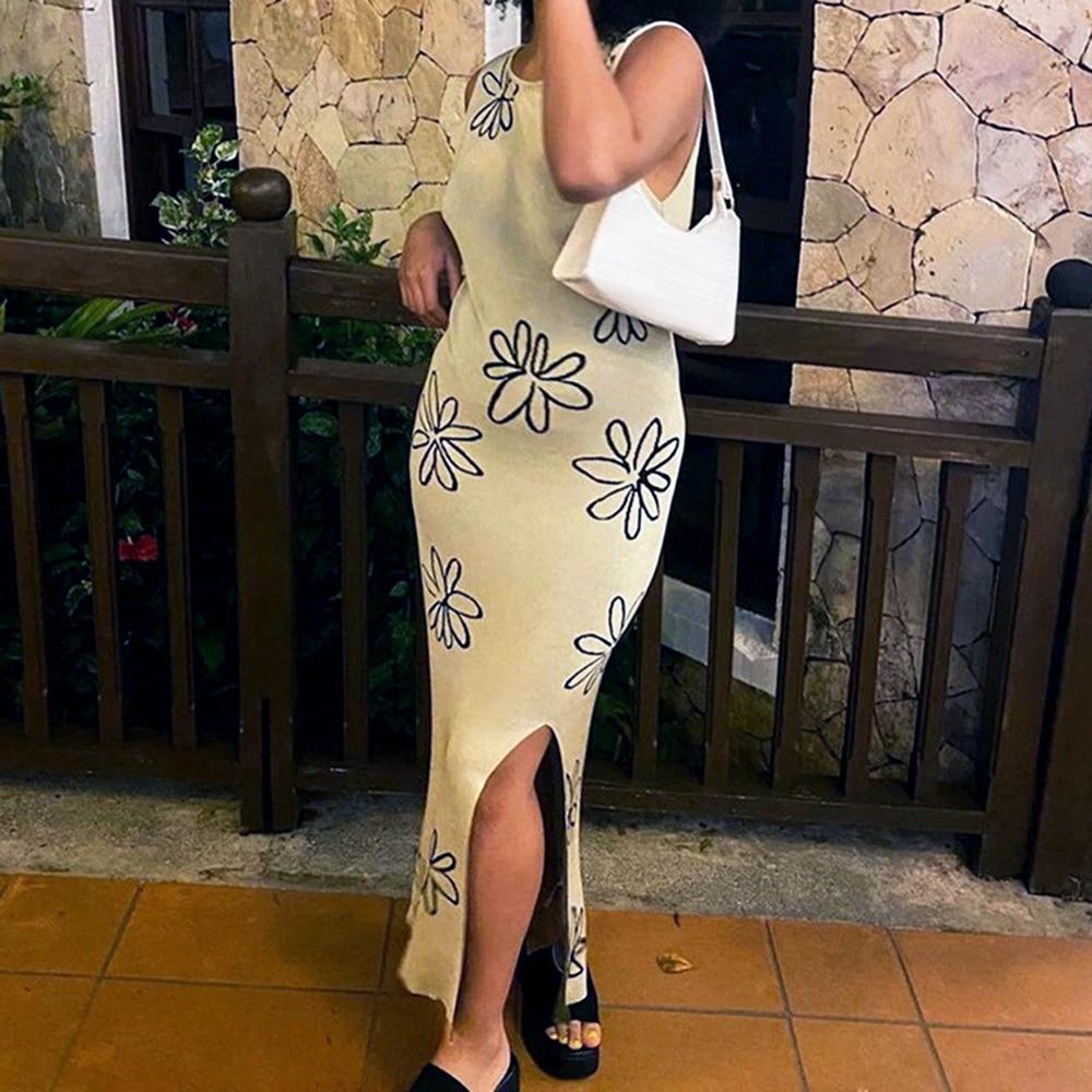 2021 Sexy O Neck Knitted Bodycon Dress Women Summer Split Backless Sleeveless Y2K Beach Sexy Midi Party Dresses