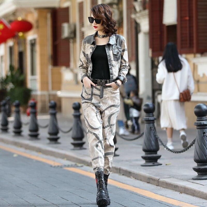 Korean Europe Autumn Women's New Products Splicing Nostalgic Contrast Denim Jeans Harem Suit Fashion