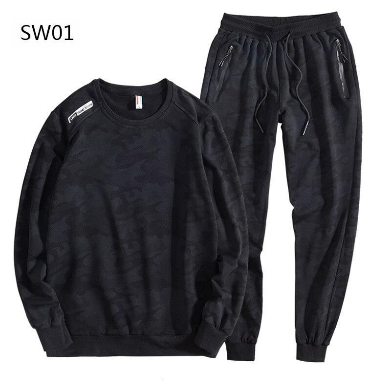 Cotton Black Tracksuit Men Sportswear Sets New Spring Autumn Clothing Suit Male 2 Pieces Sweatshirt + Sweatpants