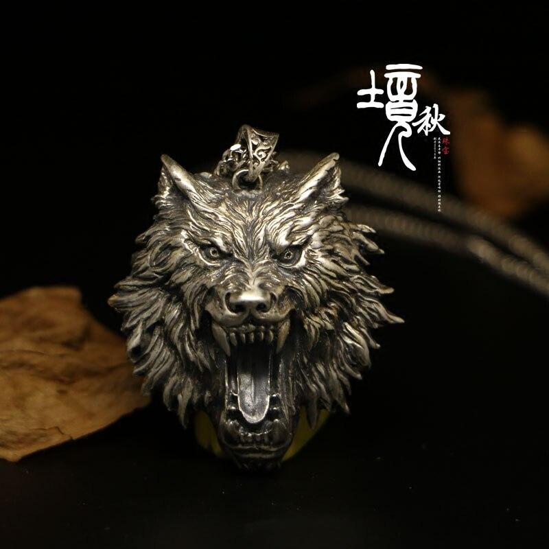 Feito à mão personalizar a cabeça do lobo colar jóias 925 prata esterlina witcher pingente medalhão assistente feminino masculino colar presente wicca