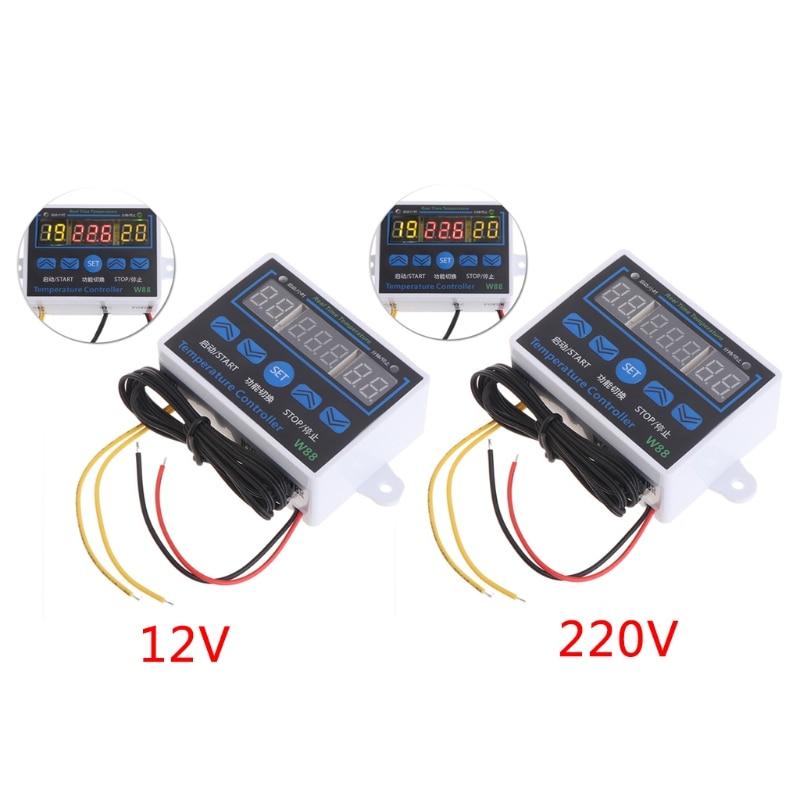 Controlador de temperatura Digital LED W88 12V/220V 10A, Sensor de interruptor de Control de termostato, venta al por mayor y Dropship