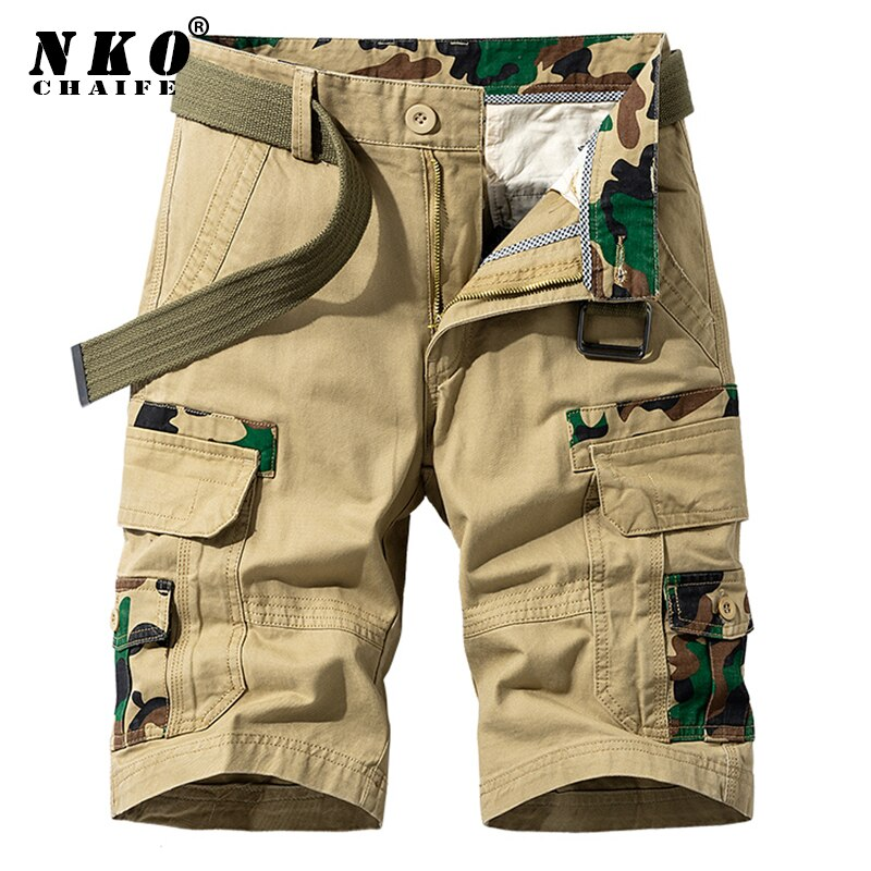 CHAIFENKO Mens Summer Cotton Cargo Shorts 2021 New Army Tactical Shorts Pants Loose Work Casual Mult