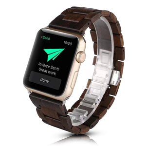 Luxury Wood Watchband Series 5 4 3 2 1 Strap for Apple Watch Band 40mm 44mm 38mm 42mm Bracelet for iWatch Wrist Belt