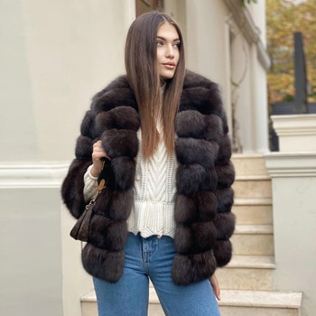 Real Fox Fur Jacket Sable Color Woman Natural High Quality Fox Fur Coats with Turn-down Collar Women Luxury Fur Overcoats Winter