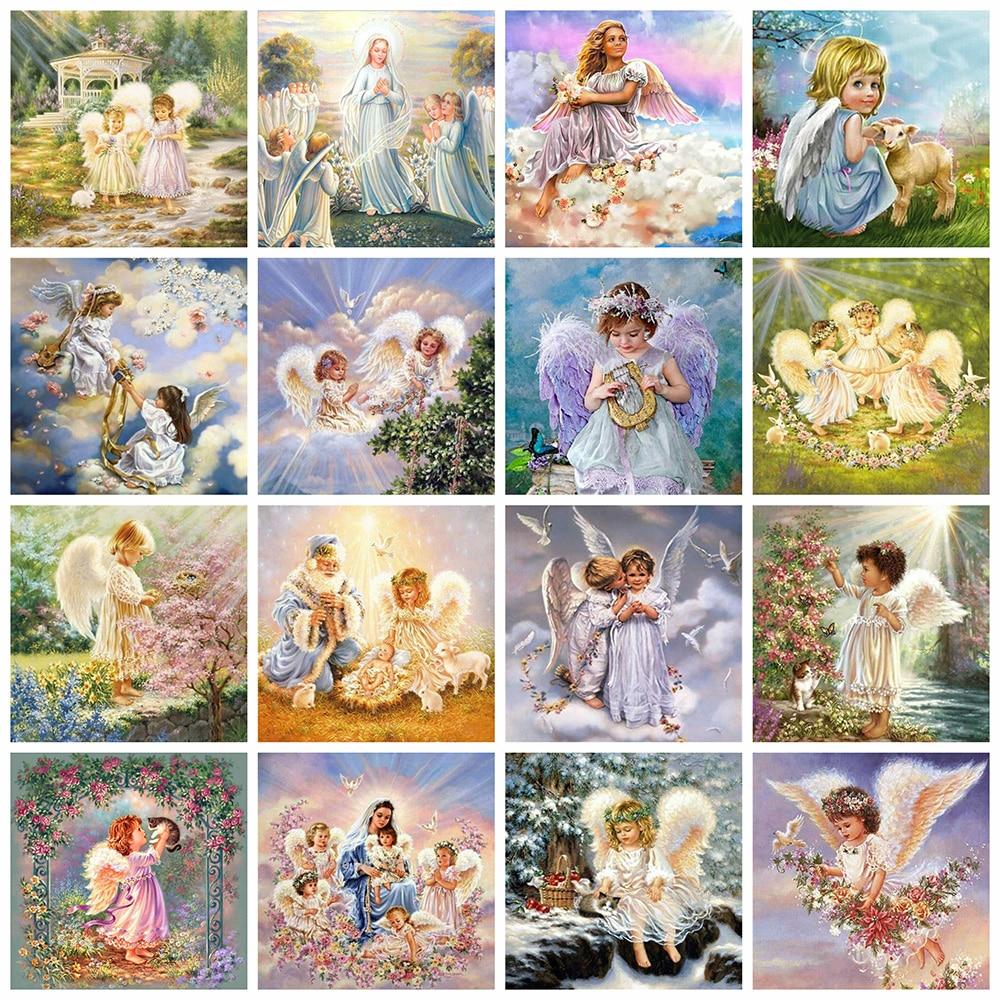Evershine pintura de diamante Ángel 5D DIY bordado de diamante para chicas cuentas cuadradas completas cuadro de mosaico de diamantes de imitación decoración del hogar