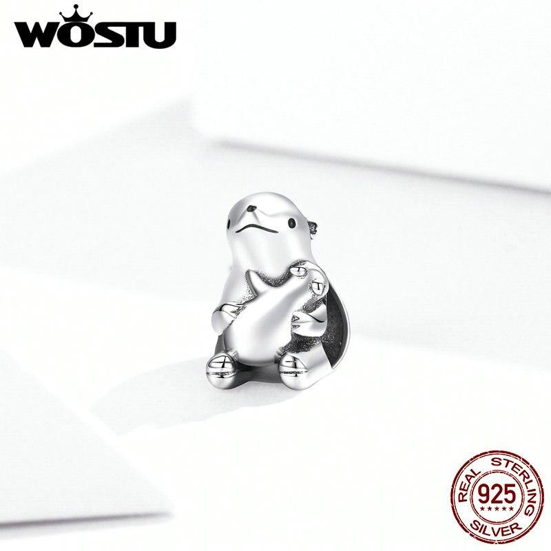 WOSTU 100% 925 Sterling Silver Beads Charm  Polar Bears CZ Charms Fit Original Pandora Bracelets Women Diy Jewelry