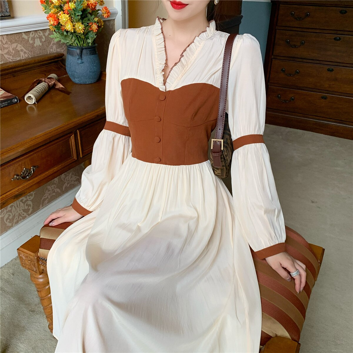 Women Long Sleeve V-Neck Chiffon One-Piece Dress Frenc Vintage Dress Female 2021 Autumn Korean Evening Party Fairy Elegant Dress