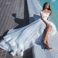 2020 off the shoulder a line wedding dresses lace appliques bridal gowns formal long princess sweet middle east dubai