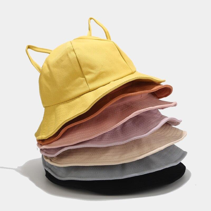 Gorros de algodón con orejas de gato estilo pescador de Oloey, sombreros para mujer, amarillo, rosa, sólido, altos, casuales, sombreros de playa, sombreros de pescador de moda
