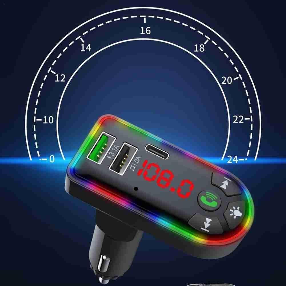 Автомобильный FM-передатчик Bluetooth 5,0, беспроводное зарядное устройство MP3 для громкой связи, двойной автомобильный аудиоплеер, приемник Type-C, ...