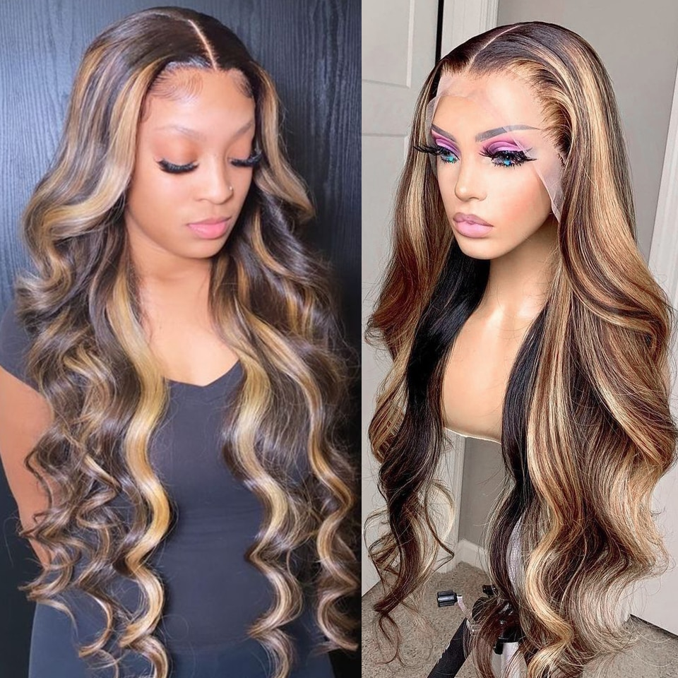Highlight Wig Human Hair Body Wave Lace Front Human Hair Wigs Brown Colored Human Hair Wigs Prepluck