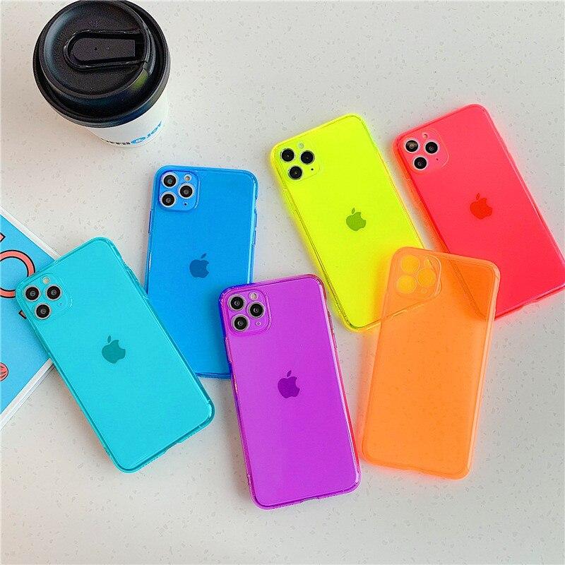 Funda de teléfono de lujo de Color gelatinoso fluorescente para IPhone 11 Pro MAX 7 8 Plus XS MAX XR suave TPU transparente Coque fondos