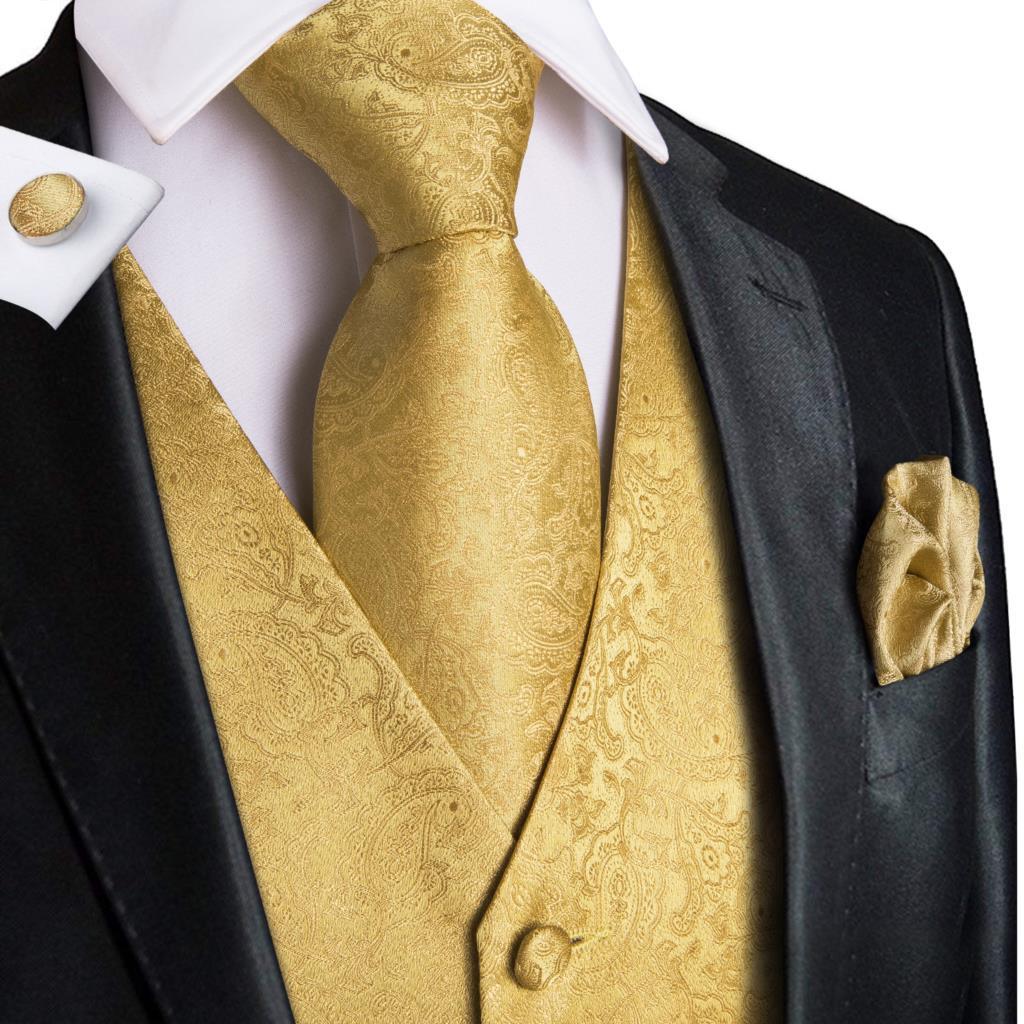 Шелковый мужской жилет, комплект с галстуком, мужские жилеты, галстук на шею, платок, запонки, Цветочный Пейсли, модная мужская одежда, Класс...