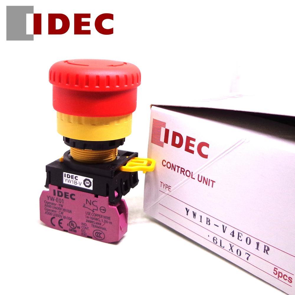 5 قطعة IDEC التبديل YW1B-V4E01R YW1B-V4E11R 1NO 1NC 22 مللي متر إيقاف الطوارئ زر التبديل