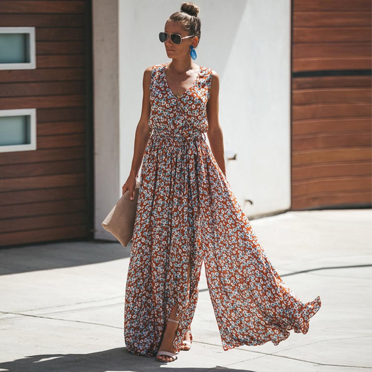 Jastie Women Summer Dress Floral Print Maxi Dresses Bohemian Hippie Beach Long Dress Women's Clothing 2021 vestidos de verano