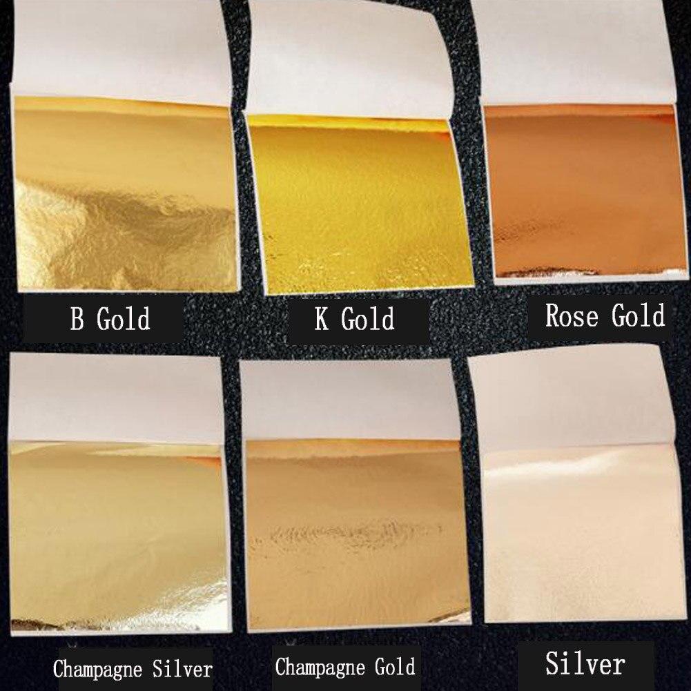 50X Gold/Silber/Kupfer Folie Doppelseitige Papier Dekoration Blatt Blätter Blätter Vergoldung DIY Handwerk Decor Design Papier 9*9 cm
